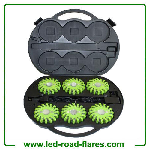 6 Packs Rechargeable Led Road Flares Green