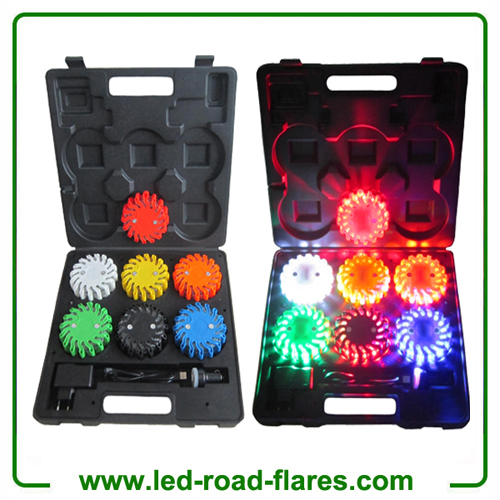 6 Packs Rechargeable Led Power Flares Road Flares Orange Amber Red Blue Yellow White Black Green