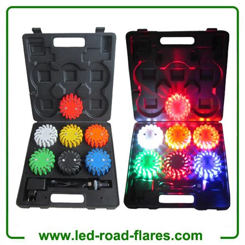 6 Packs Rechargeable Led Power Flares Road Flares Orange