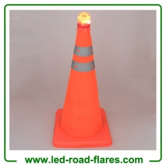 "28"" 70cm 18"" Inch 45cm Foldable Retractable Pop up Collapsible Traffic Cones with Base and Top Light"