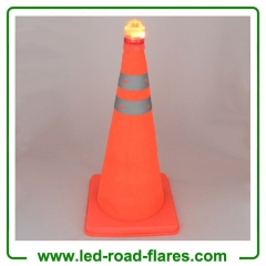 "21"" Inch 55cm Foldable Retractable Pop up Collapsible Traffic Cones with Base and Top Lights"