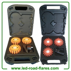 3-Pack Red Amber Orange Rechargebale Led Road Flares 3 Packs With Charging Case