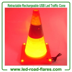 "16"" 18"" Orange Foldable Collapsible USB Rechargeable Cones Pop up Rechargeable Traffic Cone"