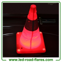"18"" Led Retractable Foldable Collapsible USB Rechargeable Cones With Magnet Base Pop Up Rechargeable Traffic Cones Orange"
