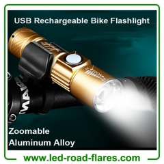 USB Rechargeable Zoomable Bicycle Bike Flashlights Headlights Torch Lights With Holder